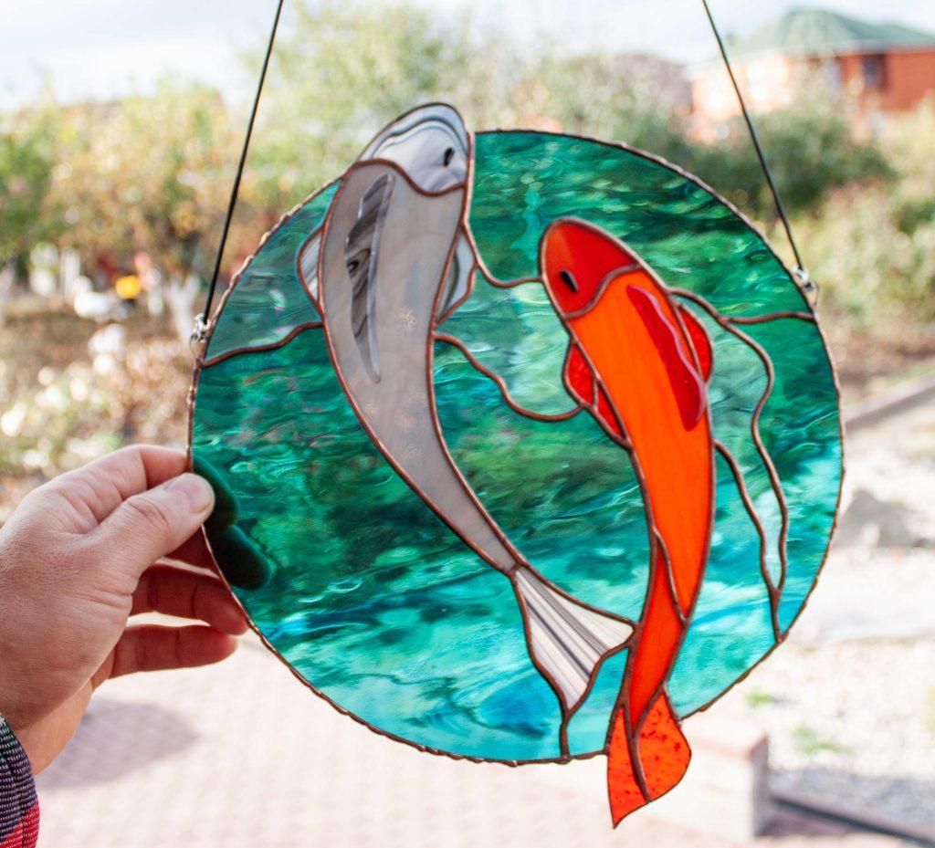 two koi carp suncatcher